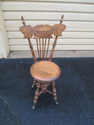 51341 Antique Victorian Adjustable Piano Stool Chair With Back photo