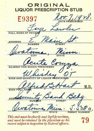 Old Prohibition Whiskey Cold Medicine Prescription Stub Pharmacy Minnesota Bar photo