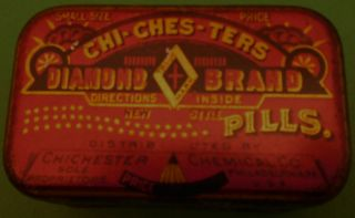 1900 ' S Chi - Ches - Ters Pill Tin Graphics Great + Curl Of Blonde Hair photo