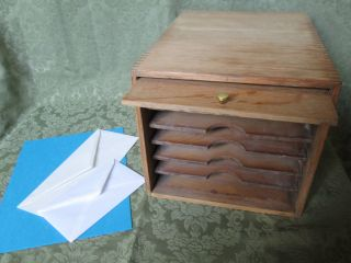 Unusual Vtg Office Paper Box,  Oak,  Machine Age Industrial Steampunk Decor photo
