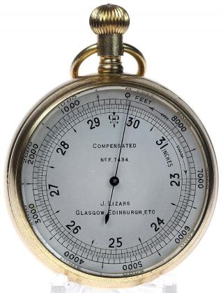 Gilt Brass Compensated Pocket Aneroid Barometer & Altimeter Case Works photo