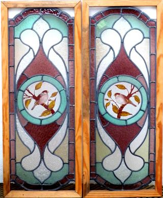 A Pair Of Victorian Period Stained Glass Windows,  Circa 1890 photo