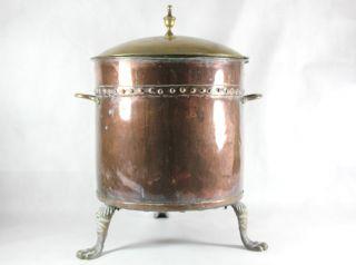 Antique Copper & Brass Log / Coal Bin Bucket Scuttle photo