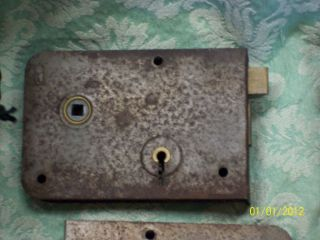 Early Reclaimed Metal Rim Lock/latch Stripped Of Paint Rl612 photo