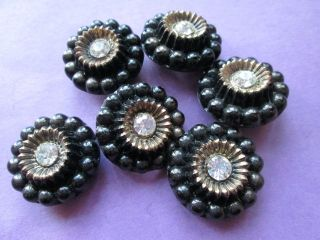 Antique Black Glass Buttons/french Jet And Rhinestone photo