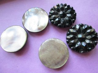Antique Buttons From Mother - Of - Pearl And French Jet photo