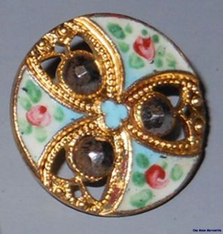 6 Matching Antique Gorgeous Gold And Enamel Openwork Buttons - Must See Relist photo