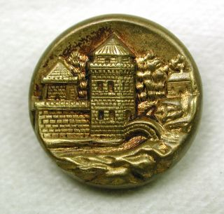Antique Stamped Brass Button Castle W/ Bridge Pictorial photo