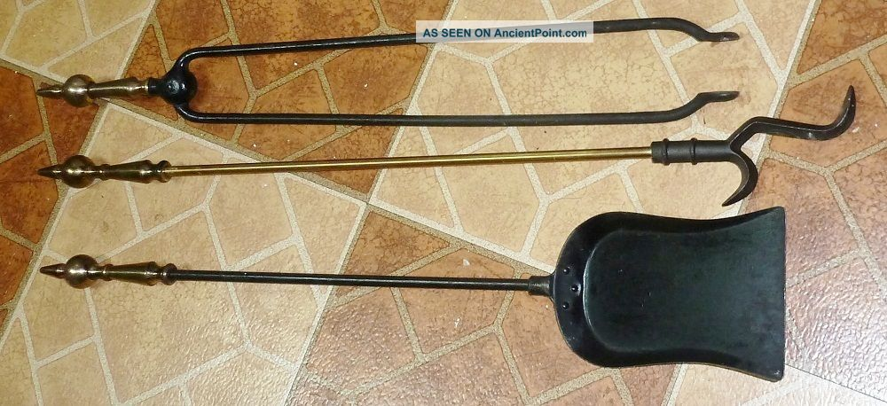 3 Fireplace Tools With Matching Handles Shovel,  Tongs & Poker Vg Cond Hearth Ware photo