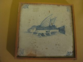 17th C Dutch Delft Tile With A Fisch photo