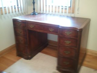 Antique Charles R.  Sligh Executive Walnut Desk W/leather Top photo