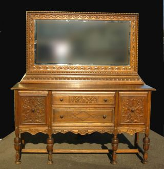 Gorgeous Vintage Spanish Revival Buffet W Mirror Carved Ornate Sideboard photo
