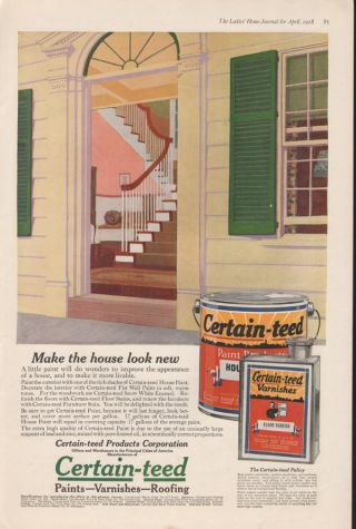 Fa 1918 Certain Teed Varnish Paint Stain Siding Home Decor photo