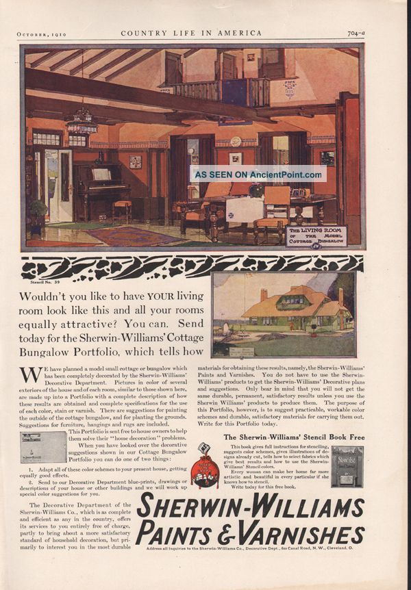 Fa 1910 Sherwin Williams Paint Varnish Cottage Bungalow Ad Other photo