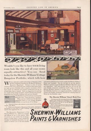 Fa 1910 Sherwin Williams Paint Varnish Cottage Bungalow Ad photo