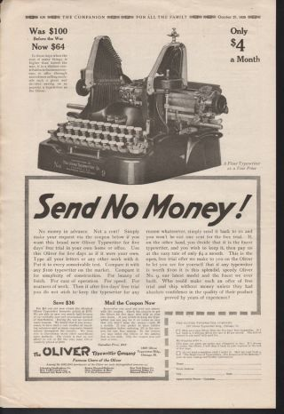Fp 1920 Oliver Typewriter Office Ink No.  9 Machine Desk Ad photo