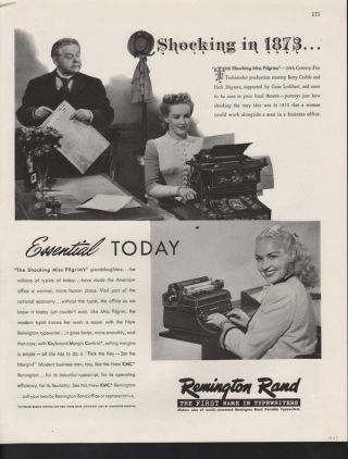 Fp 1947 Remington Rand Kmc Typewriter Movie Star Grable Ad photo