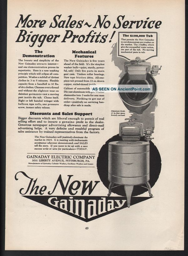 Fa 1925 Gainaday Electric Washing Machine Clothing Clean Appliance Pittsburgh A Washing Machines photo
