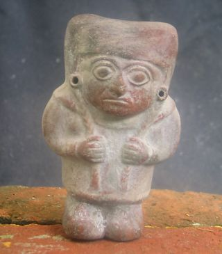 Pre Columbian Peru Moche Ceramic Idol,  Ca 450 Ad photo