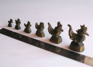 6 Antique Bronze Chicken Triangle Bird Opium Weights Burma Thailand Laos Asia photo