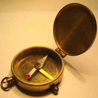 Vintage Gentlemans Brass Cased Pocket Compass By T Cooke London photo