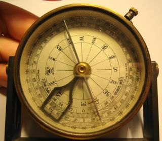 Edwardian Brass Cased Compass By J Brown Optican Glasgow With Leather Case photo