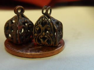 2 (two) Vintage Victorian Metal Filigree Cricket Cage Buttons photo