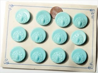 Card (12) 23 Mm 20´s Vintage Czech Deco Fancy Glass Buttons Pale Blue photo