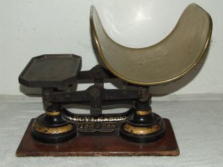 Antique 19th C.  Victorian Doyle & Son London Cast Iron Balance Scale W/brass Pan photo