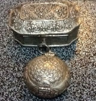 Hand Crafted Old Silver Jewellery Boxes With Exquisite Patterns. photo