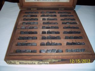 Kingsley Hotstamp Types,  30pt Alternate Gothic In Antiq Wood Box Usa Made. photo
