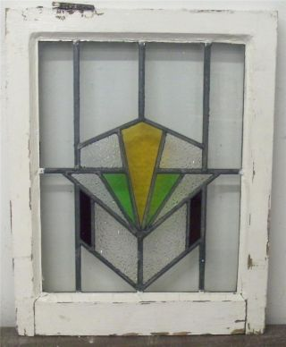 Old English Stained Glass Window Geometric,  With Pretty Center Glass photo