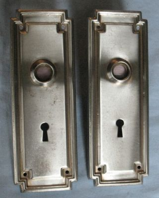 Antique Pair Door Backplates Stamped Metal Ca 1900 7 1/2