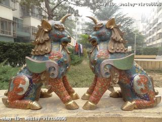 100% Pure Bronze Cloisonne Evil Fu Foo Dog Guardian Unicorn Goat Zun God Pair photo
