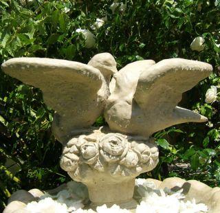 Lovebirds Statue W/ Worn Texture Vintage Stone Garden Dove Yard Bird photo