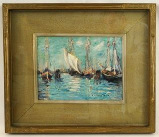 Connecticut Anne Rogers Minor (1864 - 1947) Harbor Seascape Sailboat Painting photo