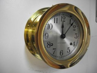 Vintage Seth Thomas Marine Brass Ships Bell Clock Strong Running Clock photo