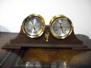 Vintage Howard Miller Ships Clock And Barometer Working photo