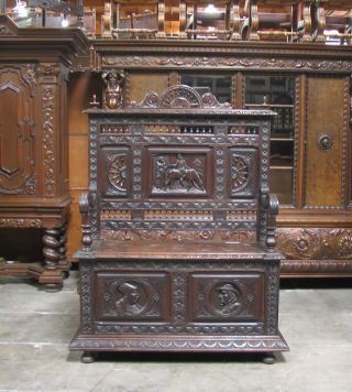 11738 : Antique Carved Briton Hall Bench photo