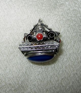Vntg Antique Fancy Silver.  800 Watch Fob Coral Cabs Lge Blue Stone Seal Art Deco photo
