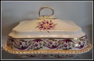 Antique Hand Painted Old Bloor Derby Porcelain Covered Serving Dish Nr photo