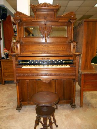 Antique D.  W.  Karns Hand Carved Mahogany Pump Organ From Southern Estate photo