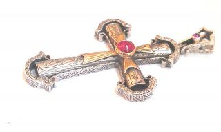 Big Byzantine - Medieval Cross - Sterling Silver/gold Plated Silver & Zircon photo