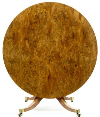 Stunning 19th Century Antique Burr Yew Wood Tilt Top Dining Table photo