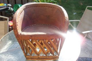 Vintage Mexican Equipale Chair With Tooled Indian Design In. photo