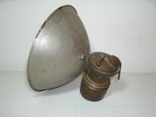 Vintage Auto - Lite Mining Helmet Light Lamp Large Reflector By Universal Lamp Co. photo