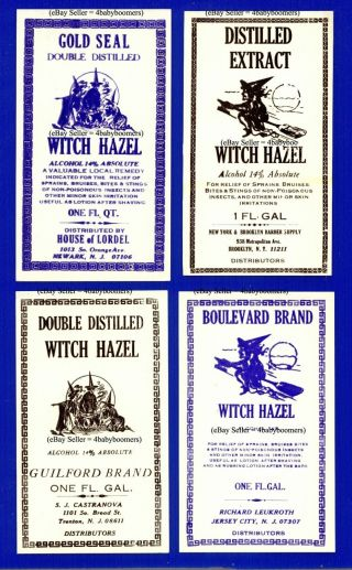 4 Halloween Witch On A Broom Vintage Drug Store Pharmacy Antique Rx Bottle Label photo