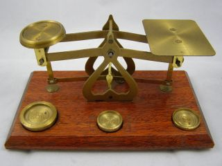 Great Set Of Vintage Brass Postal Scales And Weights photo