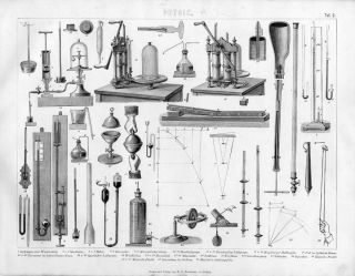 1856 Vintage Physics Instrument Science Antique Engraving Print photo