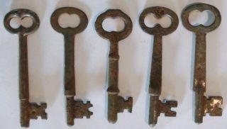 Five (5) Rusty Antique Mortise Lock Skeleton Keys Antique Door Keys photo